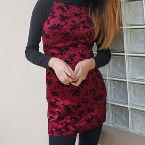 Vintage 90's Maroon Mini Dress with Velvet Florals